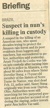 Newspaper clipping about Sister Dorothy's murder